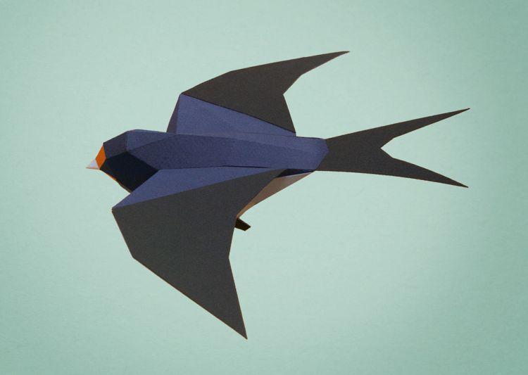 Полигональные фигурки животных из бумаги
