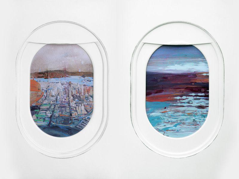 Художник рисует пейзажи в иллюминаторе