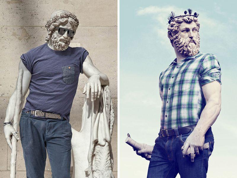 Античные статуи и современная уличная мода