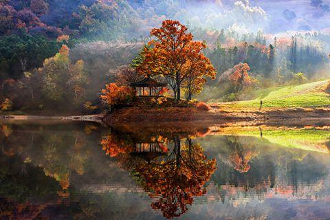 Безмятежные зеркальные пейзажи Южной Кореи